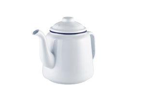 Enamel Teapot White with Blue Rim 1L