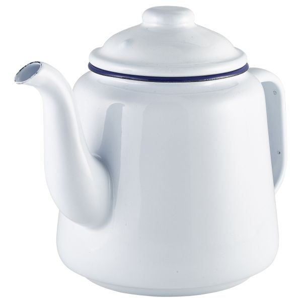 Enamel Teapot White with Blue Rim 1.5L