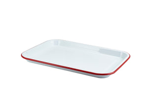 Enamel Serving Tray White with Red Rim 33.5x23.5x2.2cm