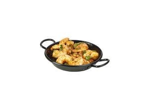 Black Enamel Miniature Paella Pan 12cm 6 pack