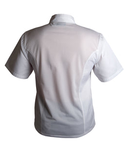 Coolback Press Stud Jacket (Short Sleeve) White