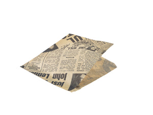 Greaseproof Paper Bags Brown Newspaper Print 17.5 x 17.5cm