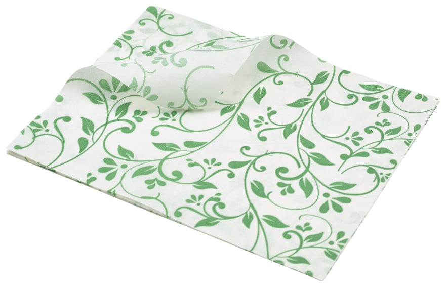 Greaseproof Paper Green Floral Print 25 x 20cm