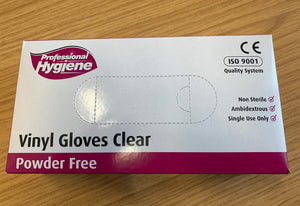 Powder free clear vinyl gloves large