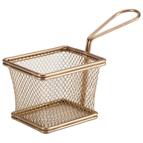 Copper Serving Fry Basket Rectangular 10 x 8 x 7.5cm