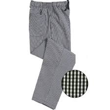 Le Chef Woven Black Small Check Elasticated Trousers