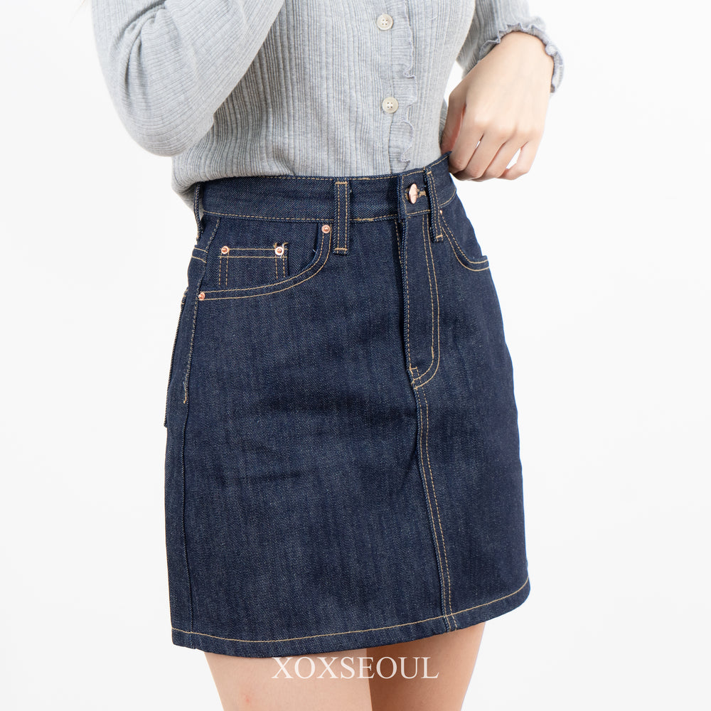Gold Record Denim Skirt