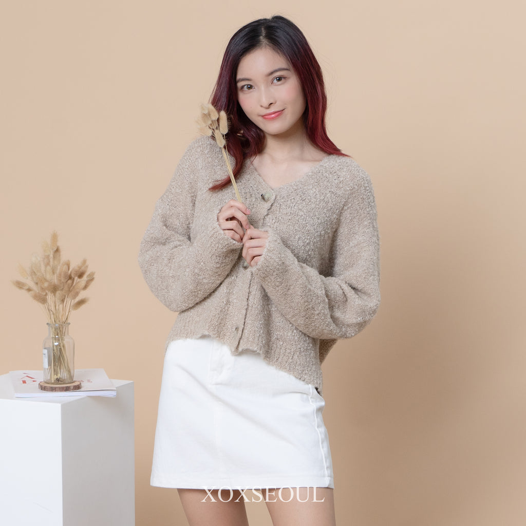 Soft Like Poodle Cardigan (2 Colors)(8% Wool)