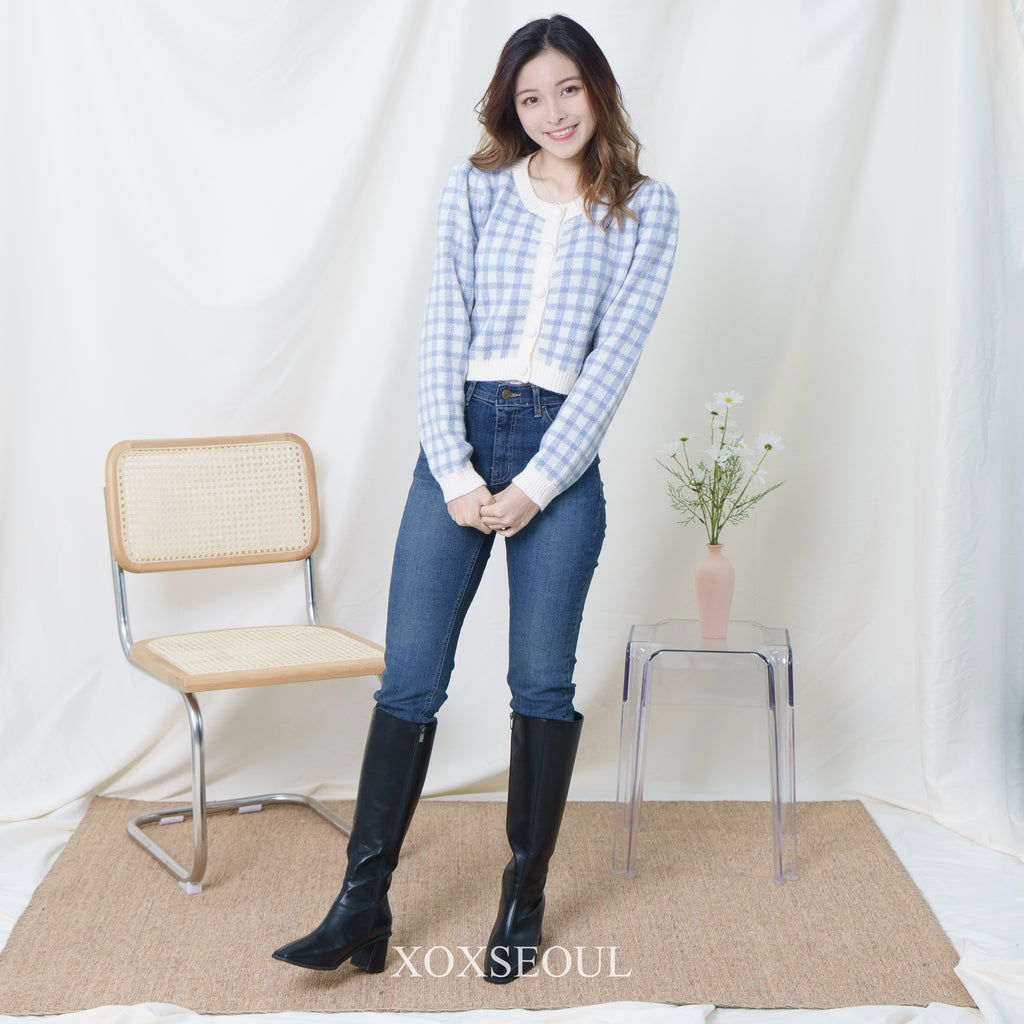 Moment Checked Crop Cardigan Top (2 Colors) (wool 10%)