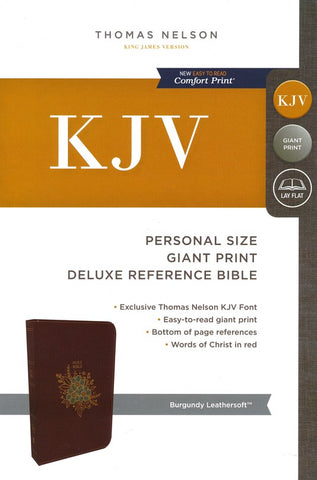KJV Deluxe Personal Size Reference Bible Giant Print, Leather-Look, Burgundy