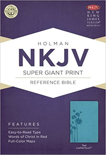 NKJV HOLMAN SUPER GIANT REFERENCE BIBLE, TEAL LEATHER COVER