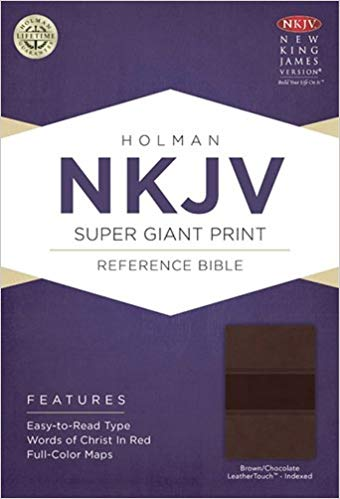 NKJV Super giant reference bible, CLASSIC MAHOGANY LEATHERTOUCH