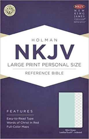 NKJV L/P PERSONAL SIZE REFERENCE BIBLE INDEX. MINT GREEN LEATHER