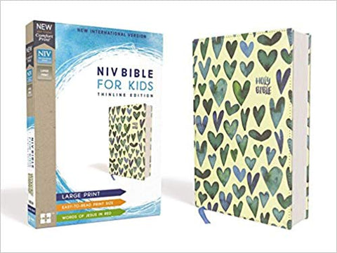 NIV, Bible for Kids, Large Print, Cloth over Board, Teal, Red Letter Edition, Comfort Print: Thinline Edition Hardcover – Large Print