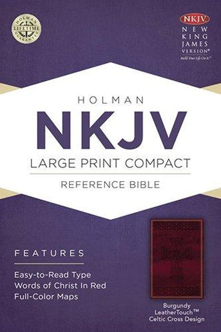 NKJV LARGE PRINT COMPACT REFERENCE BIBLE BURGUNDY CELTIC CROSS DESIGN