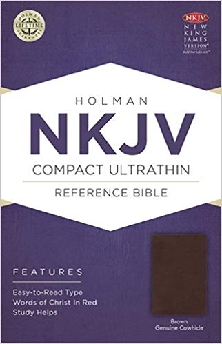 NKJV COMPACT ULTRATHIN BIBLE (GENUINE COWHIDE BROWN LEATHER)