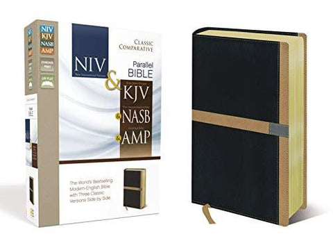 Classic Comparative Parallel Bible, NIV, KJV, NASB, Amplified, Leathersoft, Black/Tan