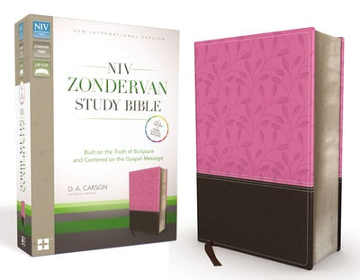 NIV ZONDERVAN STUDY BIBLE, LEATHERSOFT, PINK/BROWN