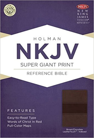 NKJV SUPER GIANT REF. BIBLE BROWN/CHOC. LEATHER TOUCH