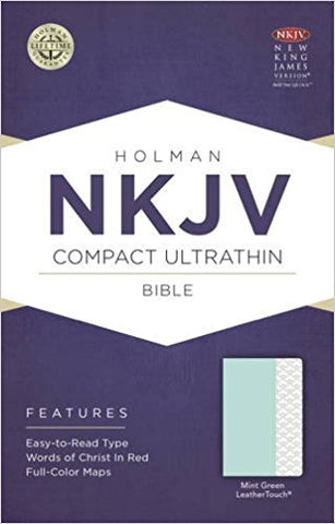 NKJV COMPACT ULTRATHIN BIBLE MINT GREEN LEATHER