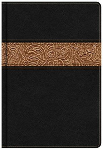 KING JAMES VERSION Reader's Bible, Black/Brown Tooled LeatherTouch