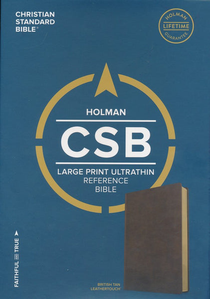 CSB Large Print Ultrathin Reference Bible, British Tan LeatherTouch