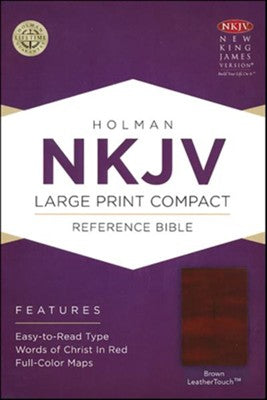 NKJV LARGE PRINT COMPACT REF. BIBLE BROWN LEATHER TOUCH