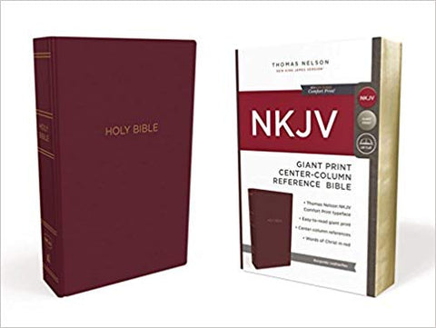 NKJV, Reference Bible, Center-Column Giant Print, Leatherflex, Burgundy, Red Letter Edition, Comfort Print