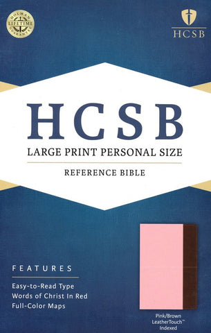 HCSB Large Print Personal Size Bible, Pink and Brown LeatherTouch, Thumb-Indexed