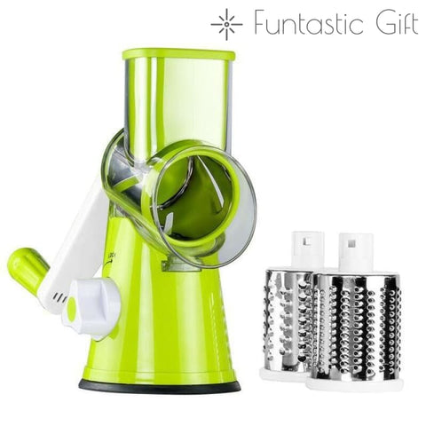 1=12 Multifunction Stainless Steel Round Drum Slicer - Green