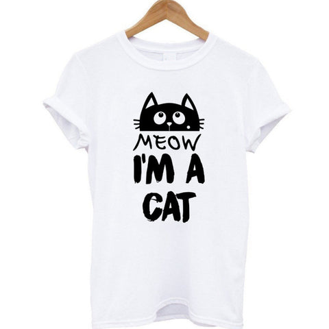 Meow Printed Women Cotton T-shirt