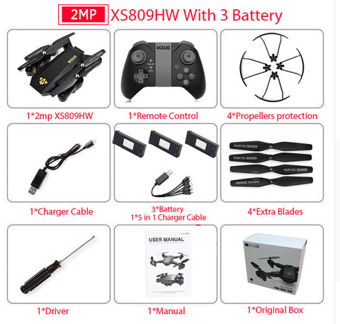 Mini Foldable Selfie Drone with Wifi with 2MP Camera