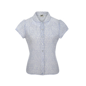 Pashley Poppy Blouse in Pastel Blue Print