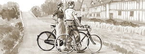 Illustration of a couple with their Pashley bicycles outside Mary Arden's House.