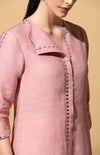 Irozi Onion Pink and Ivory Tunic Set in Linen