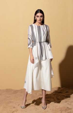 Furaha Ivory Wrap Shirt in Chanderi with Belt