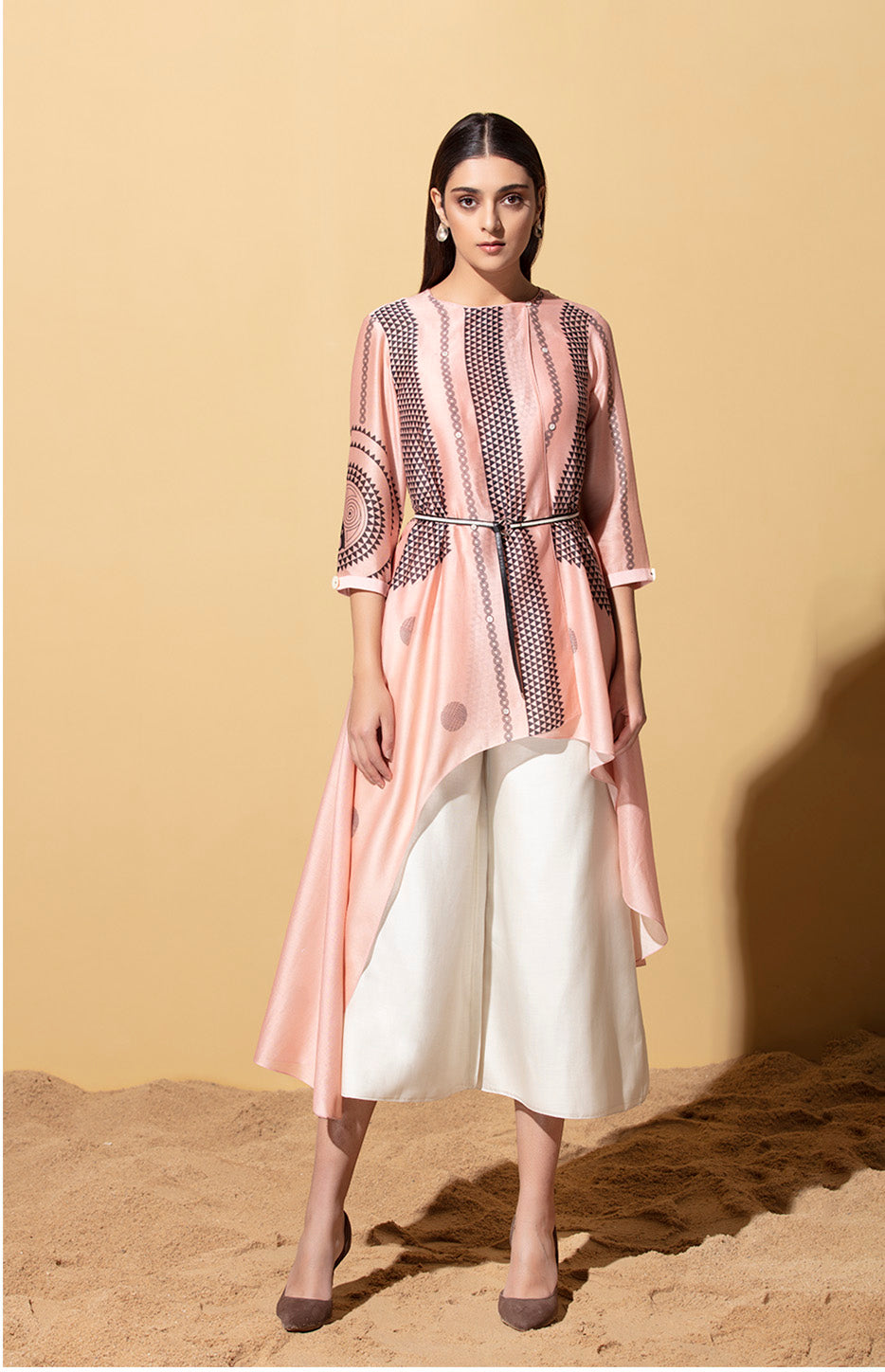 Furaha Pink Wrap Shirt in Chanderi with Belt