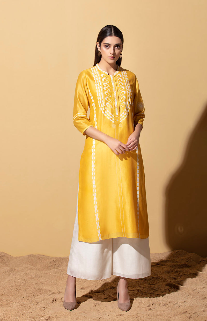Lerato Mustard Tunic In Chanderi