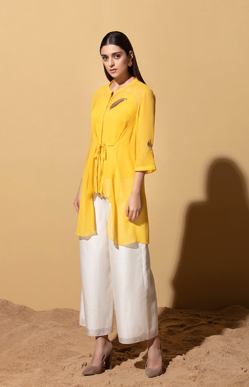 Mustard Tie up Shirt in Georgette