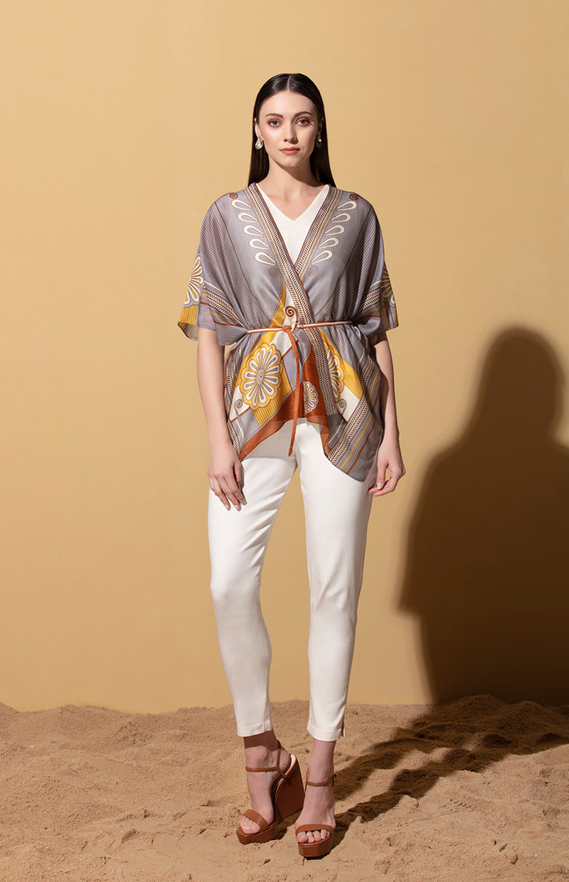 Isisa Steel Grey Kaftan In Chanderi