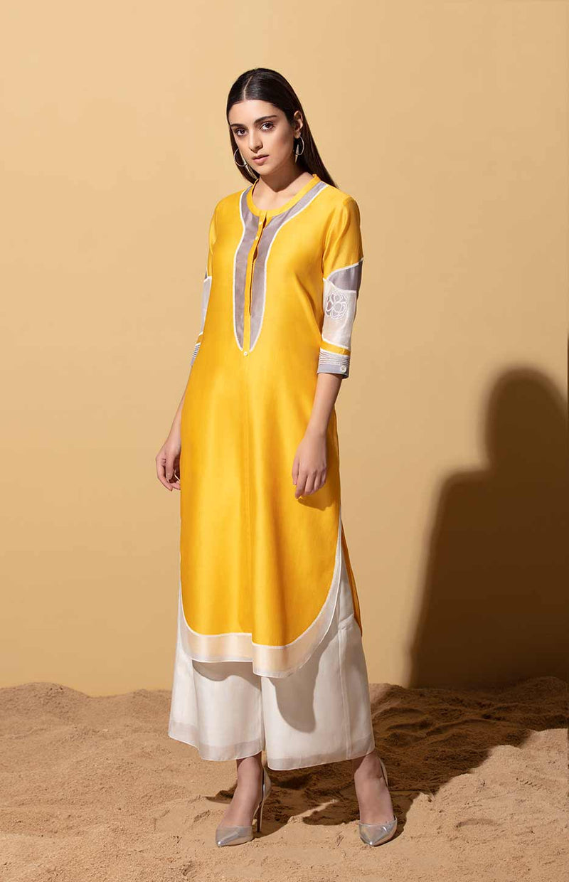 Ayo Mustard Tunic in Chanderi