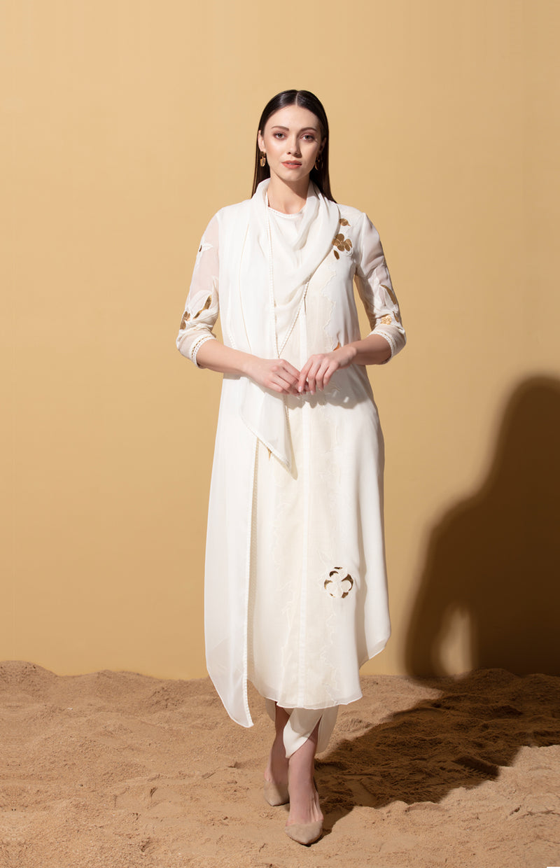 Ivory Draped Tunic & Dhoti