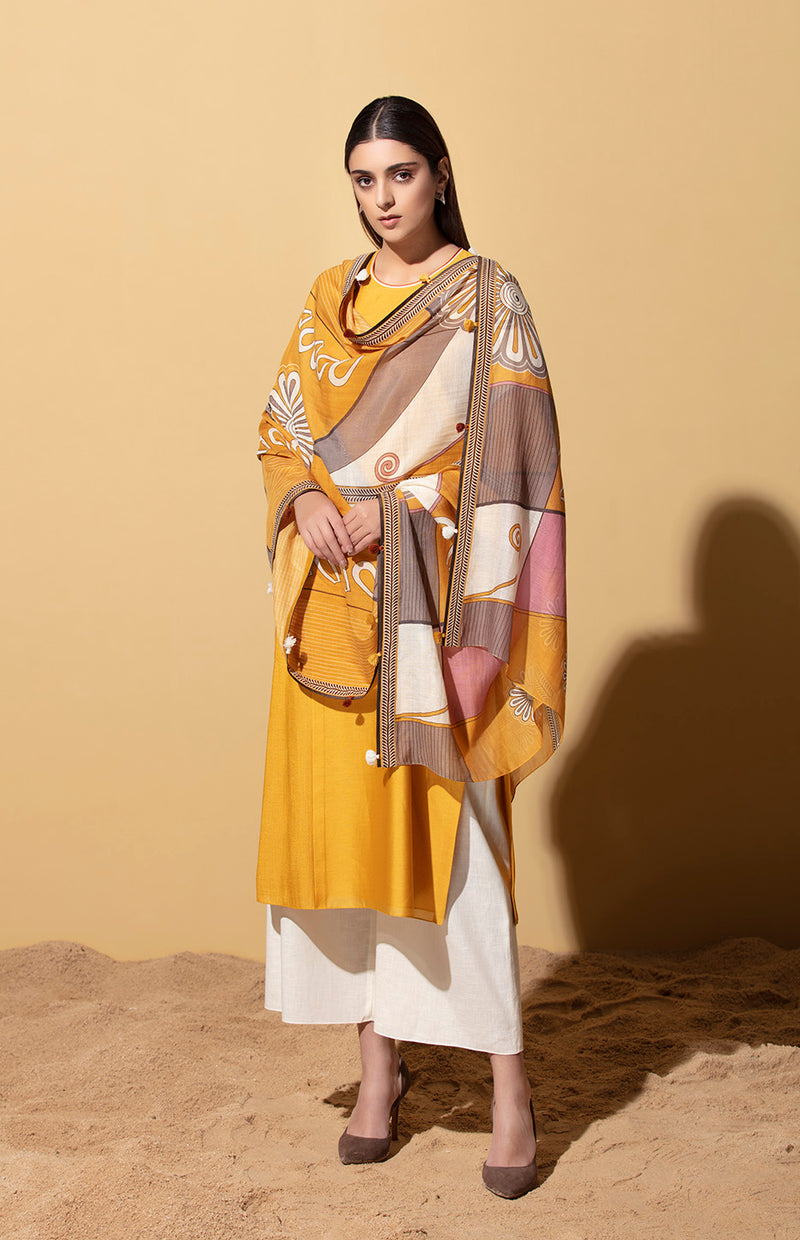 Amara Mustard Pintuck Suit in Chanderi