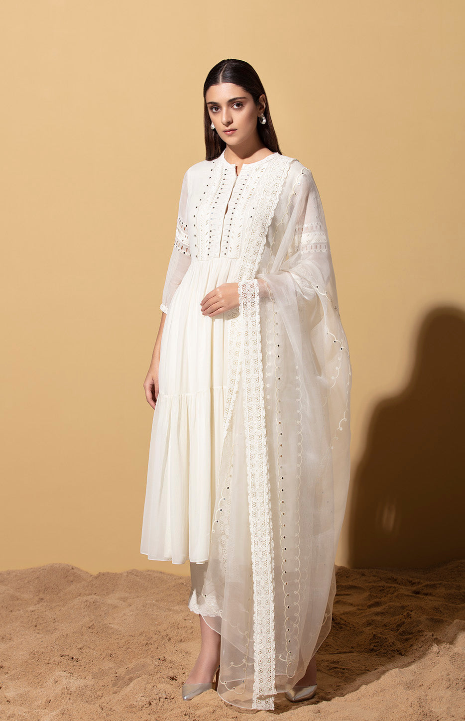 Ivory Sequinned Anarkali in Georgette