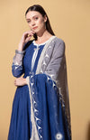 Indigo Anarkali with Embossed Dupatta