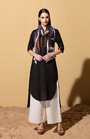 Elula Black Tunic Set in Linen with Scarf
