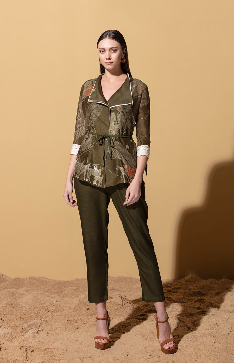 Kusafiri Olive Throwover with Bodysuit