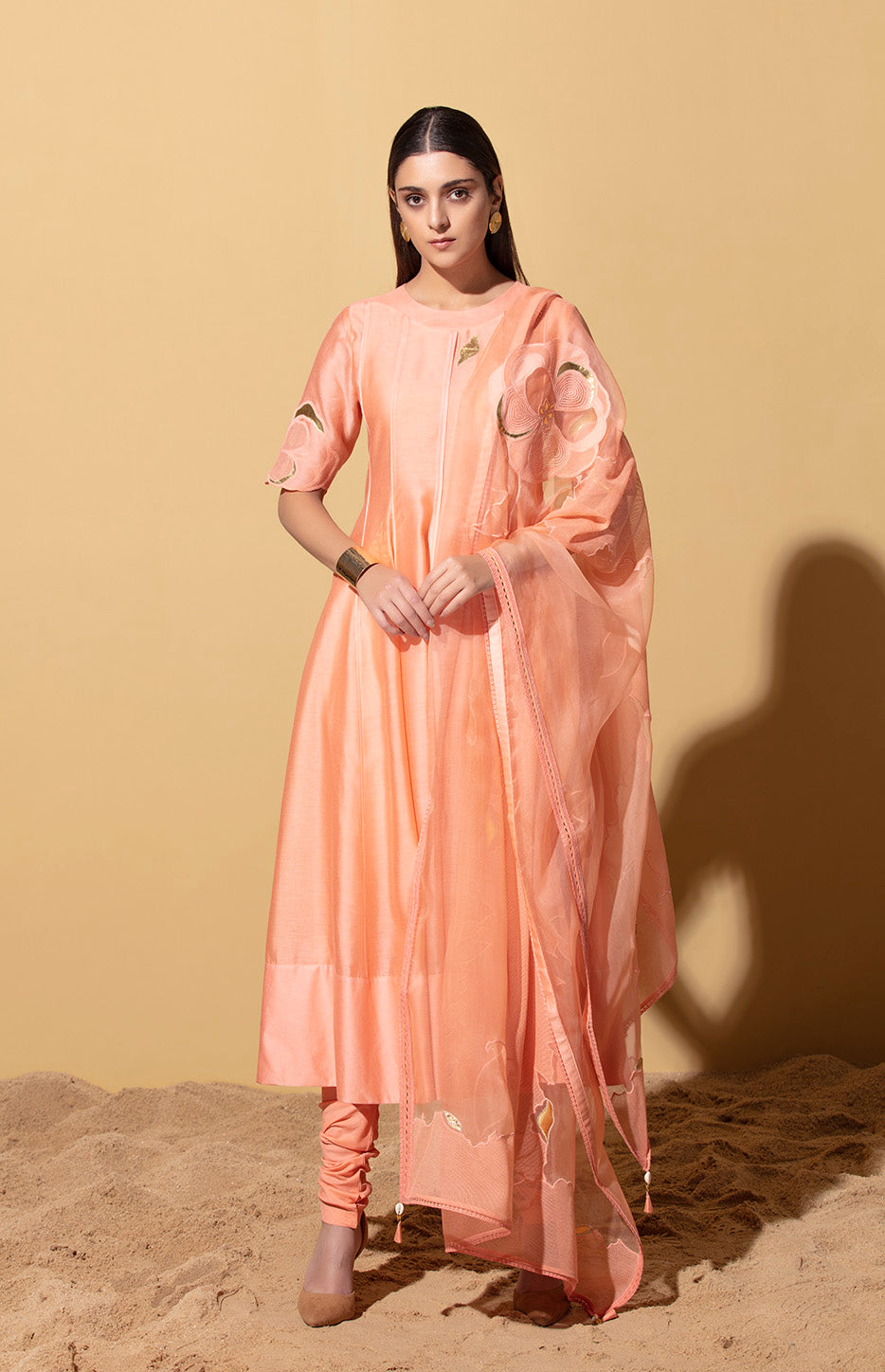 Peach Anarkali in Chanderi
