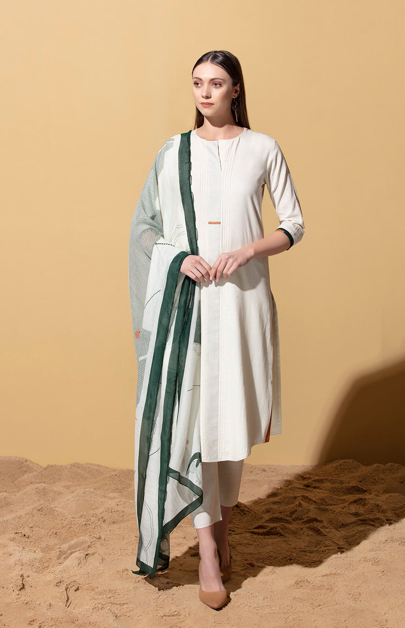 Ehlaza Ivory Suit Set in Cotton Slub