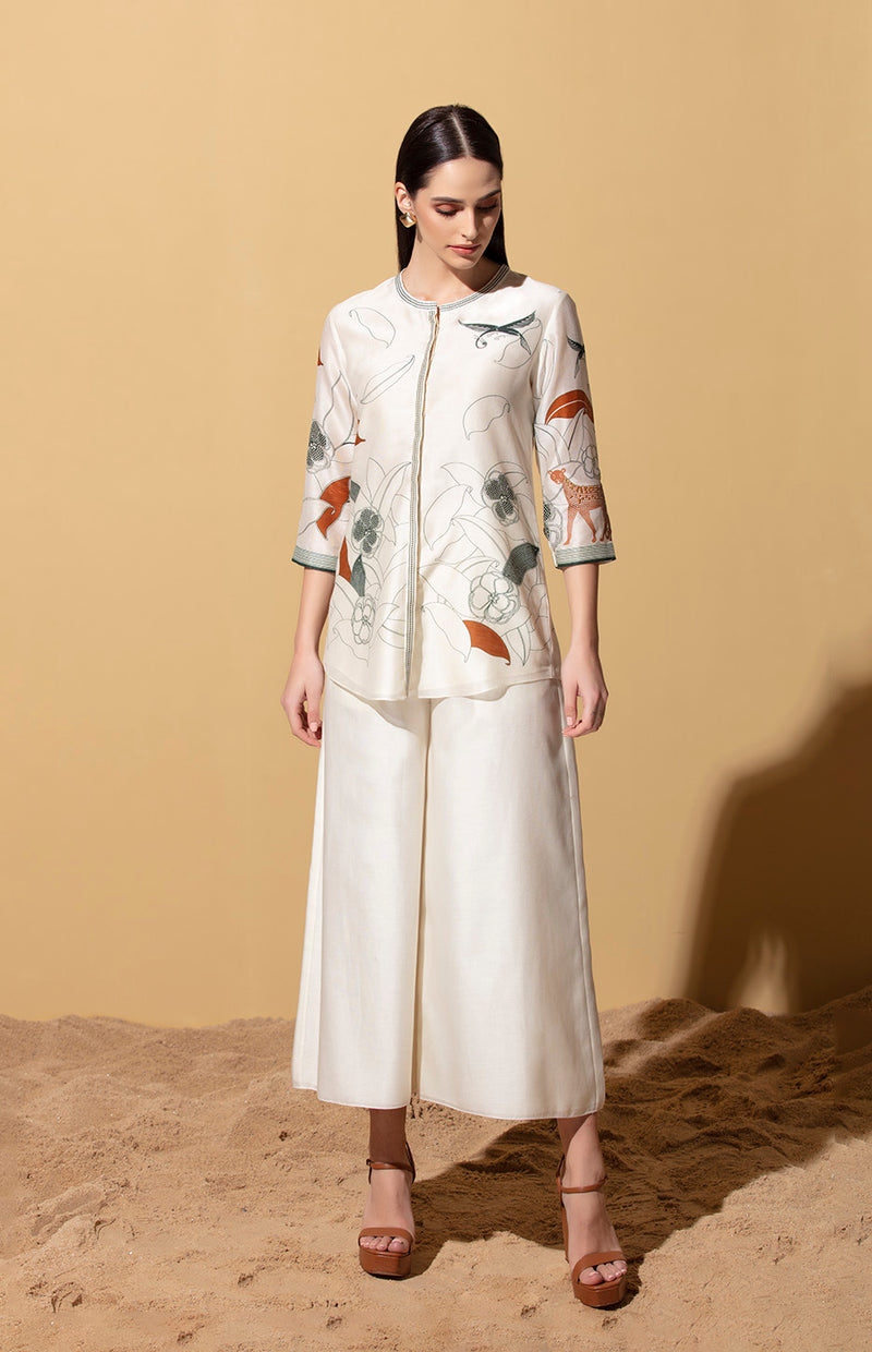 Sanaa Ivory Shirt In Chanderi